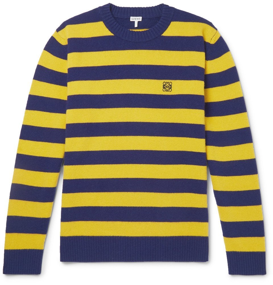 Photo: Loewe - Logo-Embroidered Striped Wool and Cashmere-Blend Sweater - Yellow