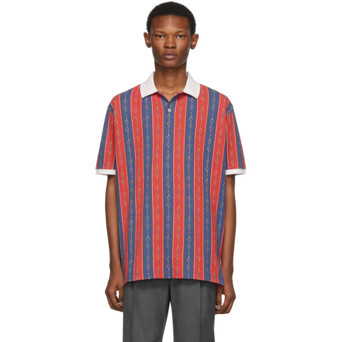 Photo: Gucci Red and Blue Chain Polo