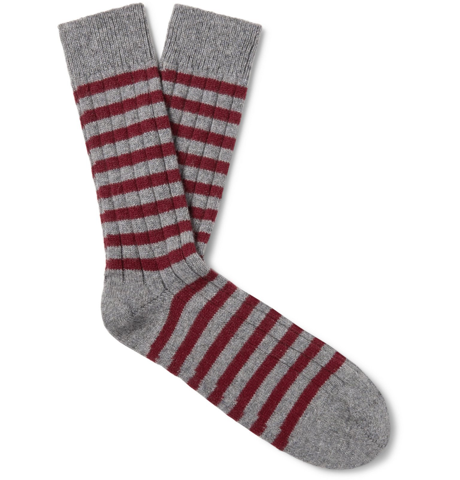 Photo: William Lockie - Ribbed Striped Cashmere-Blend Socks - Multi