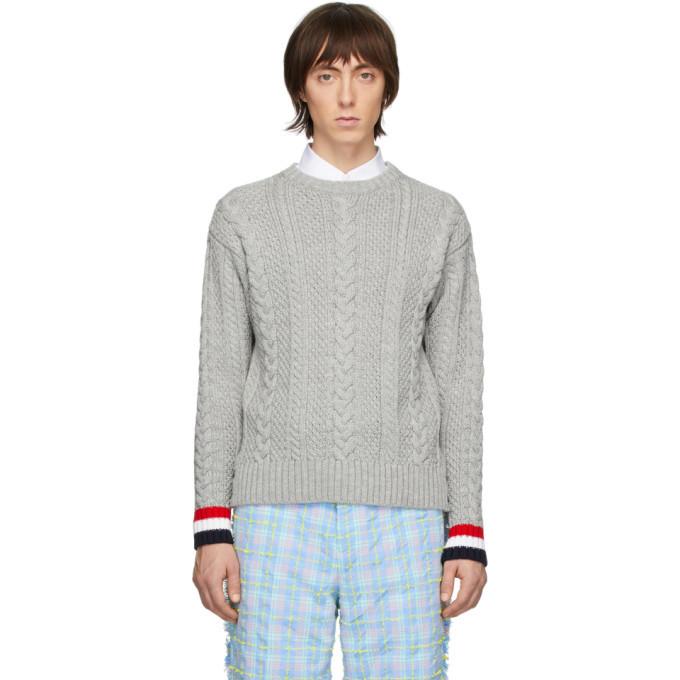 Photo: Thom Browne Grey Merino Aran Cable Sweater