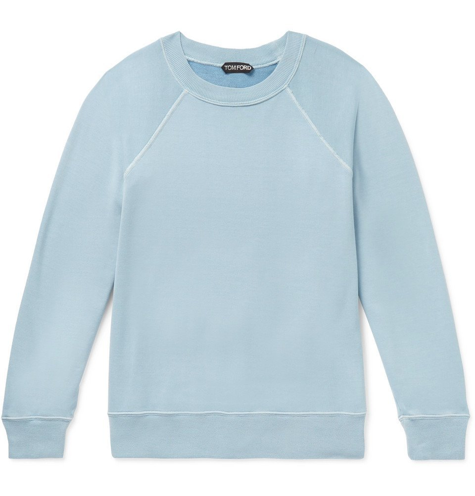 Photo: TOM FORD - Garment-Dyed Loopback Cotton-Jersey Sweatshirt - Blue