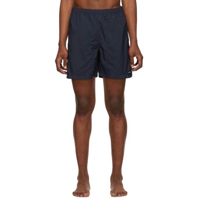 Photo: Noah NYC Navy Nylon Swim Shorts