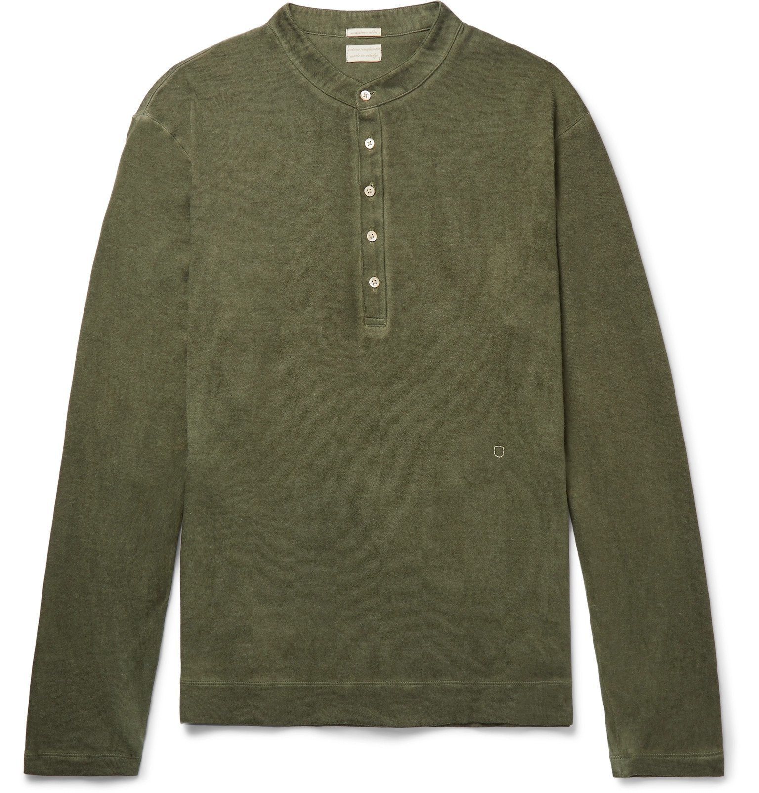 Photo: Massimo Alba - Hawai Watercolour-Dyed Cotton and Cashmere-Blend Henley T-Shirt - Green