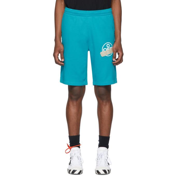 Photo: Off-White Blue Tape Arrow Sweat Shorts