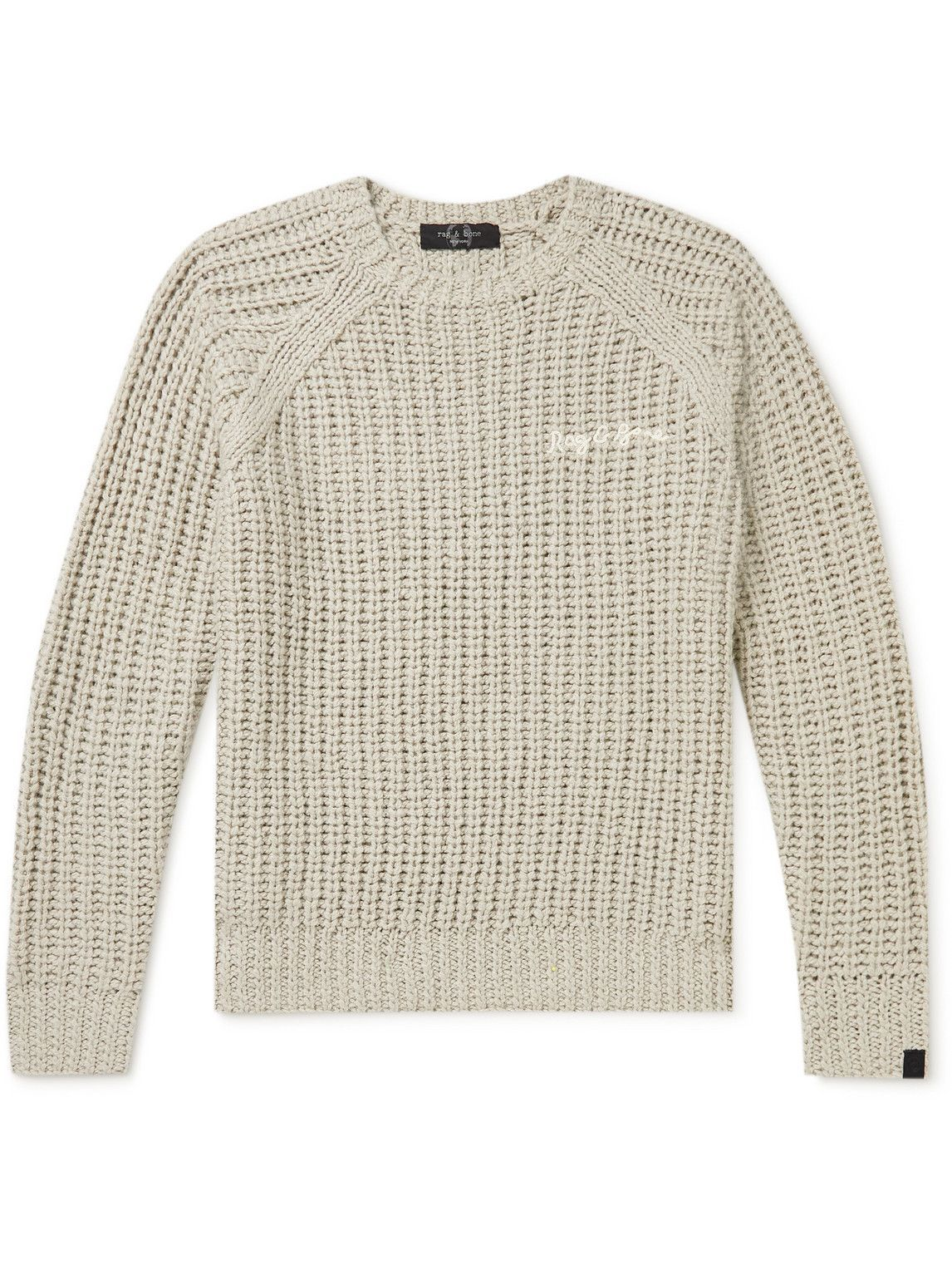 Photo: Rag & Bone - Logo-Embroidered Ribbed-Knit Sweater - Gray