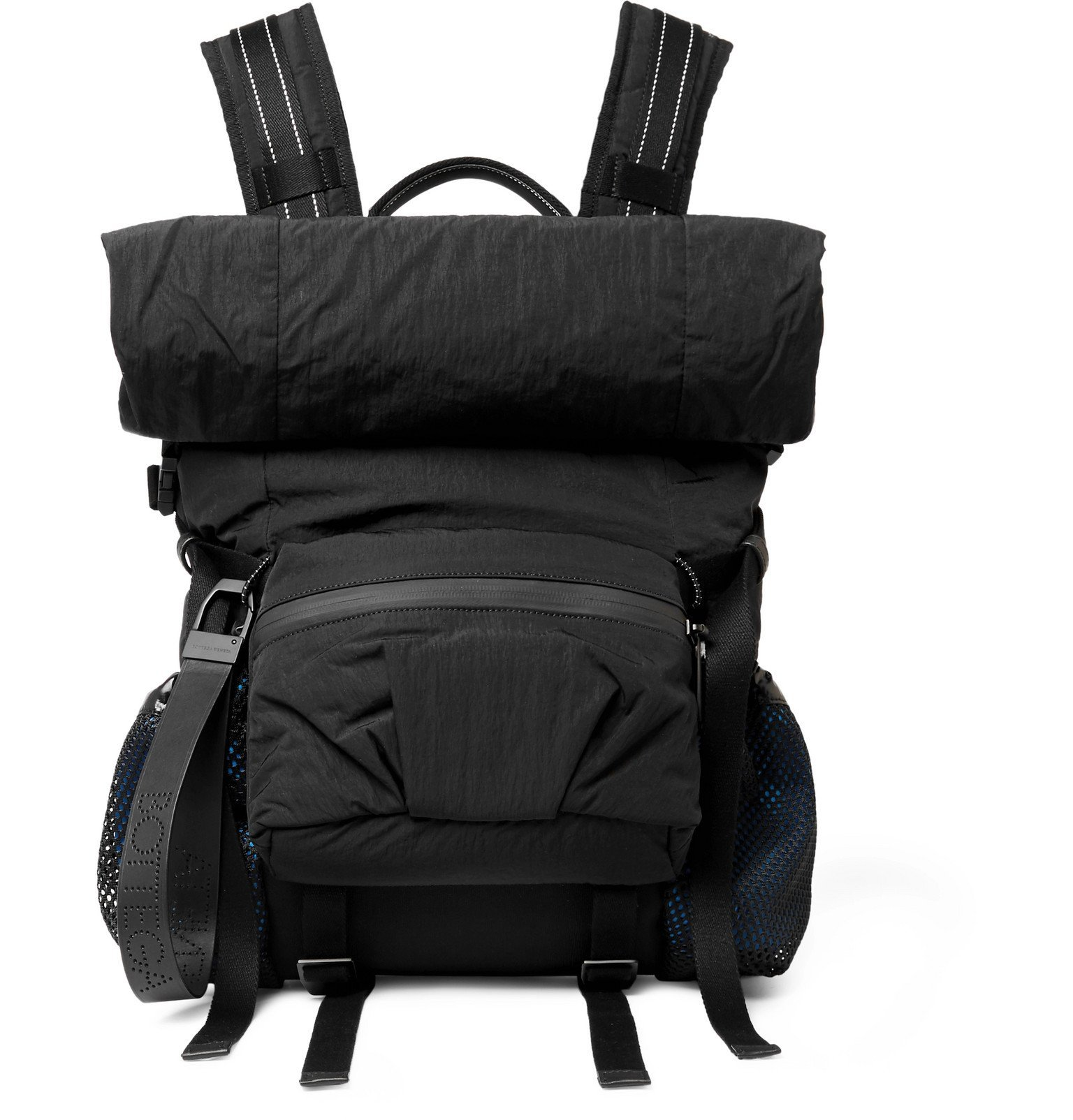 Photo: Bottega Veneta - Leather-Trimmed Nylon Backpack - Black
