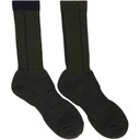Sacai Green and Navy Pinstripe Socks