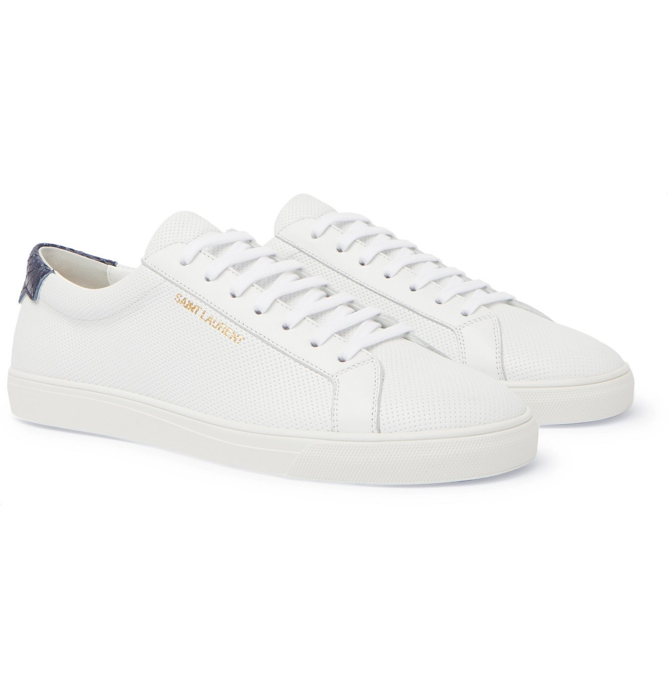 Photo: SAINT LAURENT - Andy Snake Effect-Trimmed Perforated Leather Sneakers - White