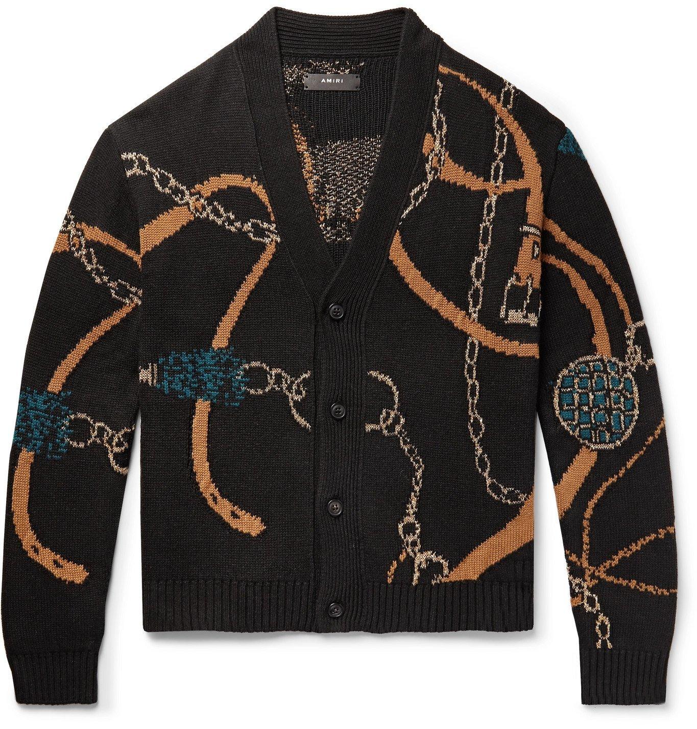 Photo: AMIRI - Metallic Intarsia-Knit Cardigan - Black