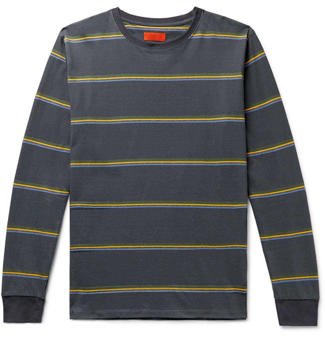 Photo: Saturdays NYC - Striped Cotton-Jersey T-Shirt - Blue