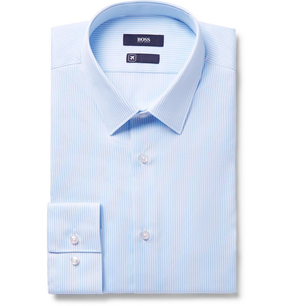 Photo: Hugo Boss - Blue Elliott Striped Cotton Shirt - Blue