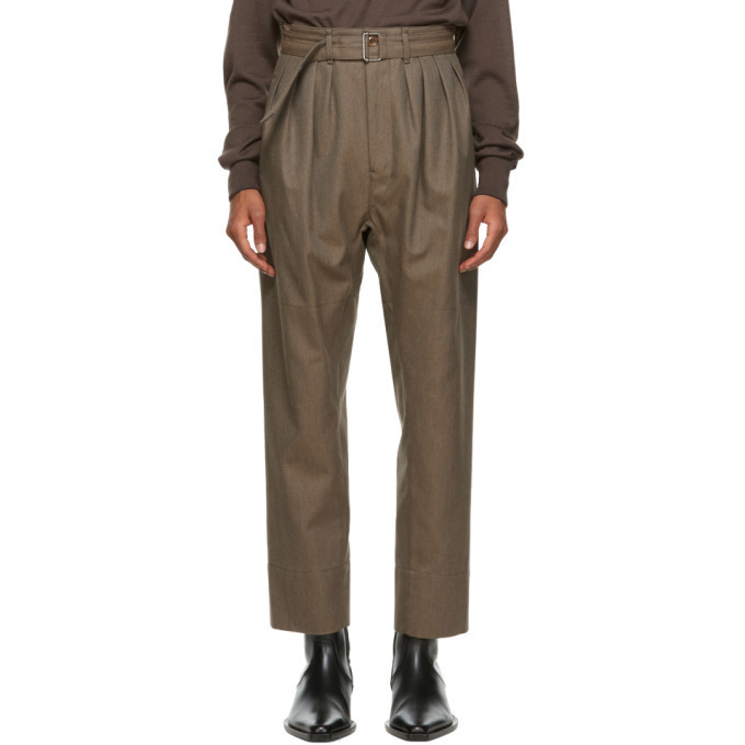 Photo: Lemaire Brown Wool 4 Pleats Trousers