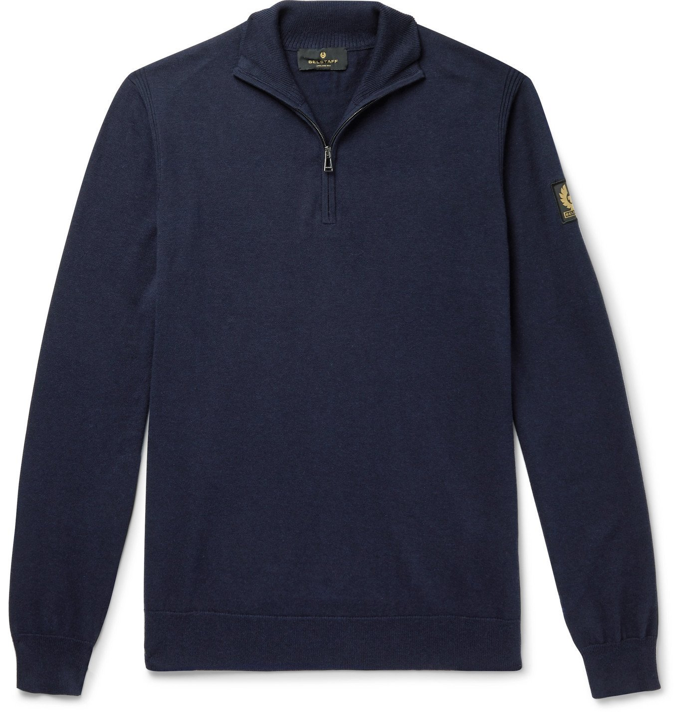 Photo: Belstaff - Bay Cotton and Silk-Blend Half-Zip Sweater - Blue