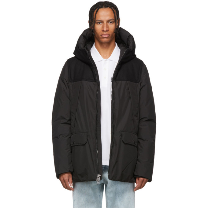 Photo: Woolrich John Rich and Bros Black Down Wool Patch Parka