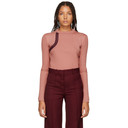 Nina Ricci Pink Leather-Trimmed Sweater
