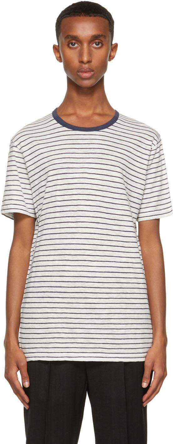 Photo: Sunspel Off-White & Navy Striped T-Shirt