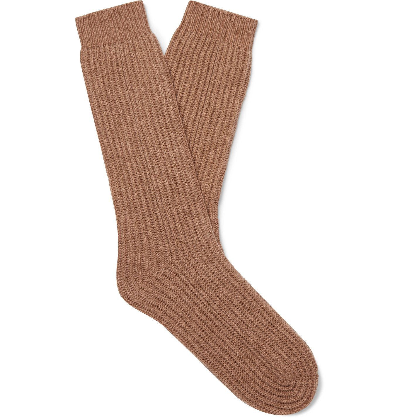 Photo: Mr P. - Ribbed Cashmere Socks - Brown
