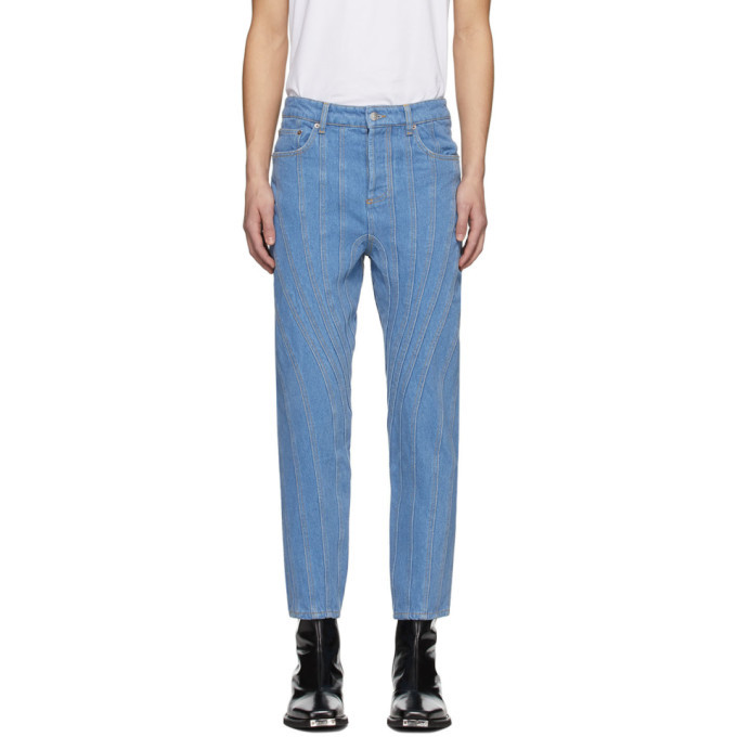 Photo: Mugler SSENSE Exclusive Blue Low Spiral Jeans