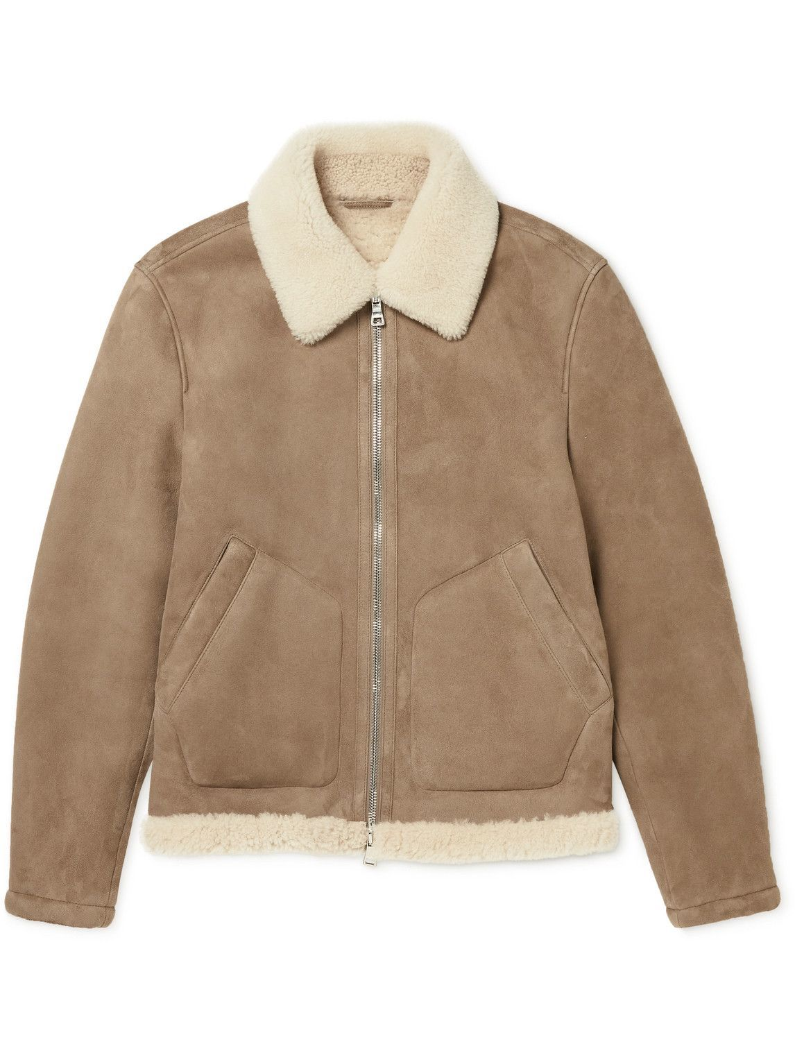 Photo: Mr P. - Shearling-Trimmed Suede Jacket - Neutrals