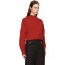 3.1 Phillip Lim Red Faux Plait Silk Cocoon Sweater