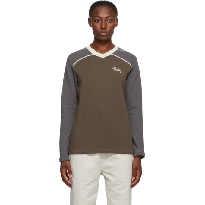 Photo: Stussy Brown and Taupe Panel V-Neck Sweatshirt