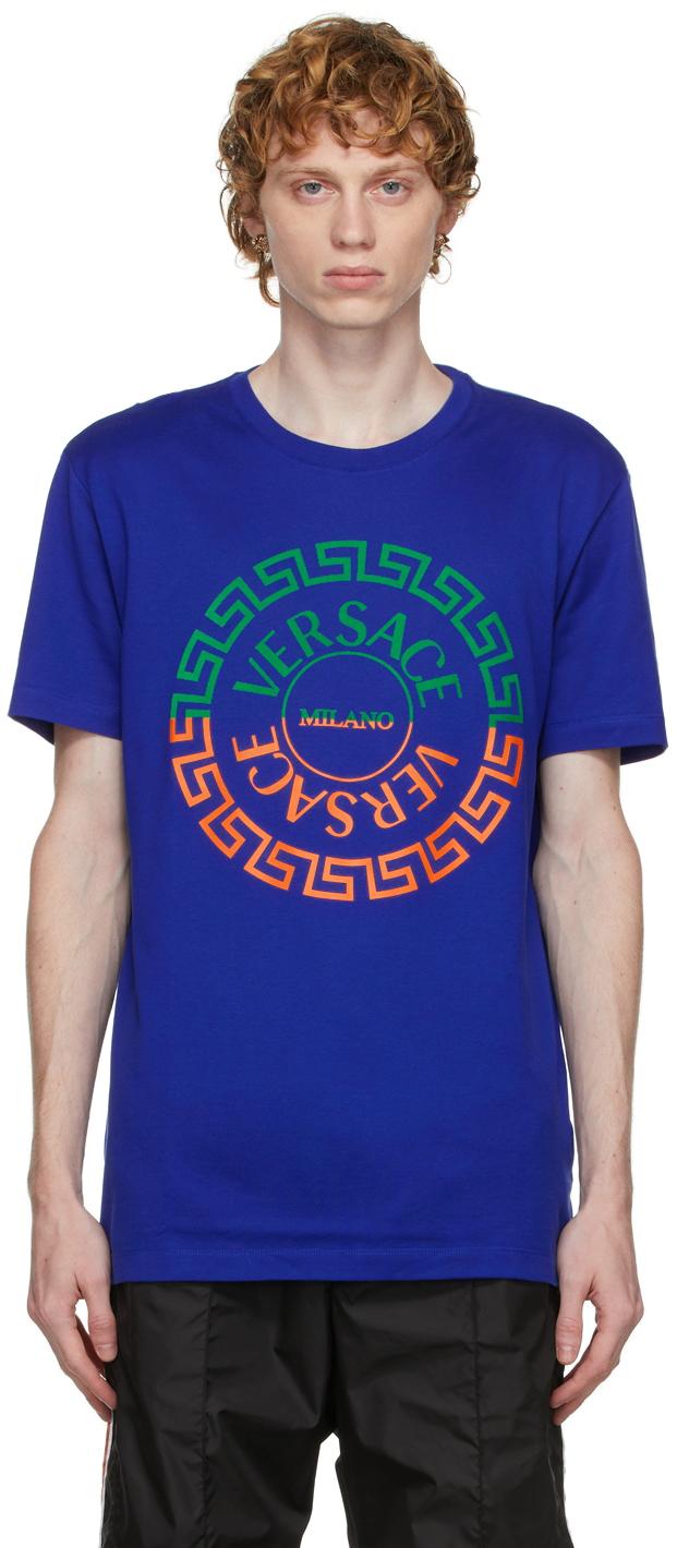 Photo: Versace Blue Greca Logo T-Shirt