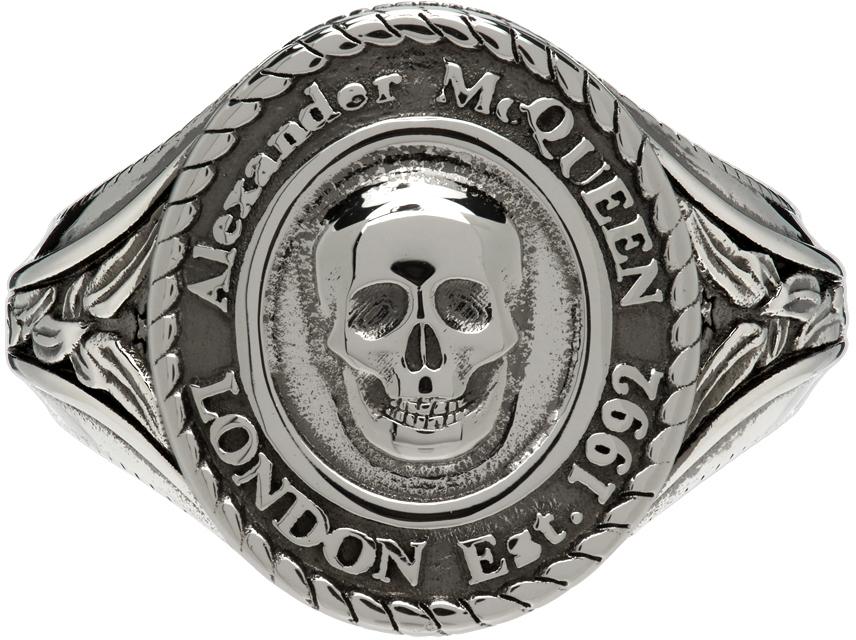 Photo: Alexander McQueen Silver Medallion Skull Signet Ring