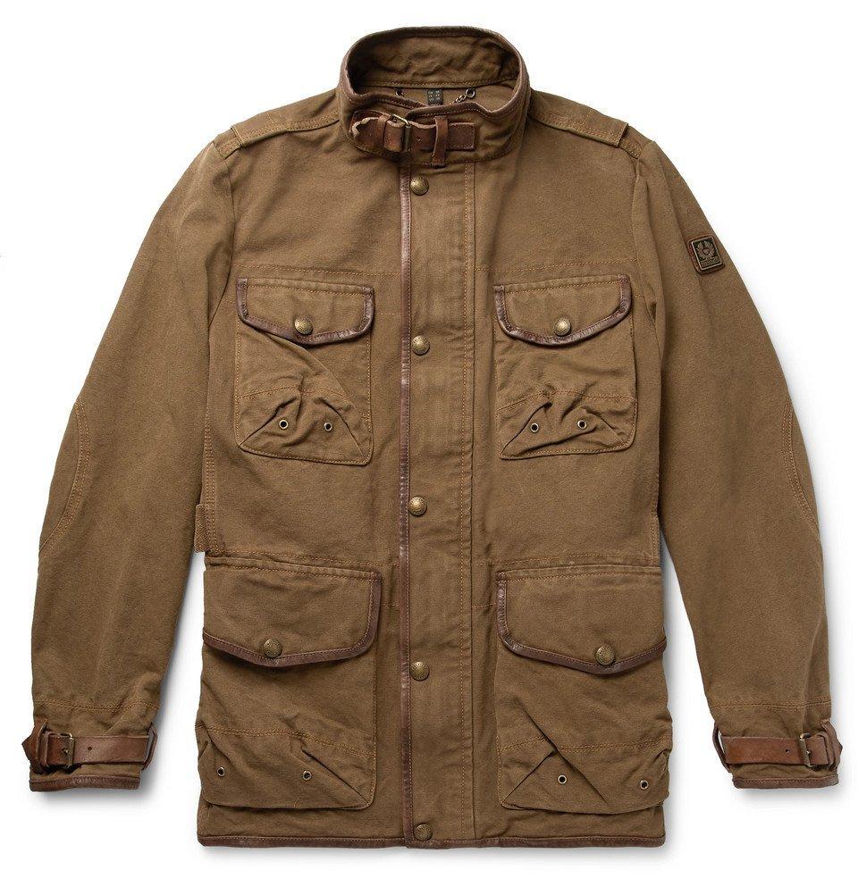 Belstaff - Leather-Trimmed Cotton-Canvas Field Jacket - Brown