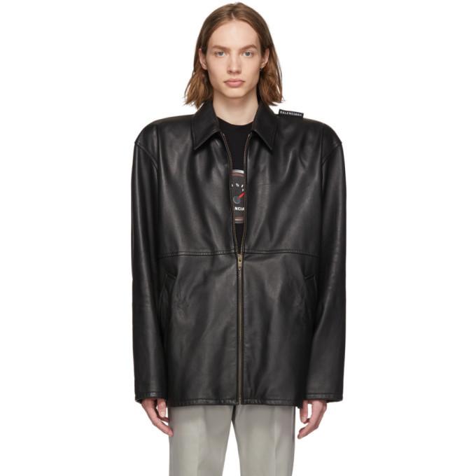 Photo: Balenciaga Black Leather Tattoo Jacket