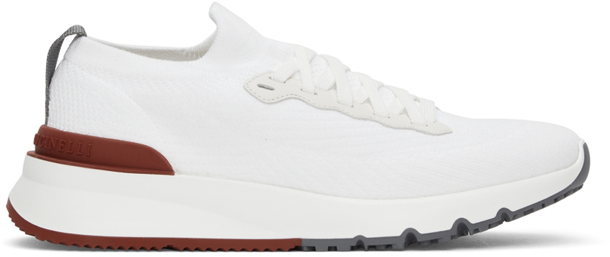 Photo: Brunello Cucinelli White Wool Knit Sneakers