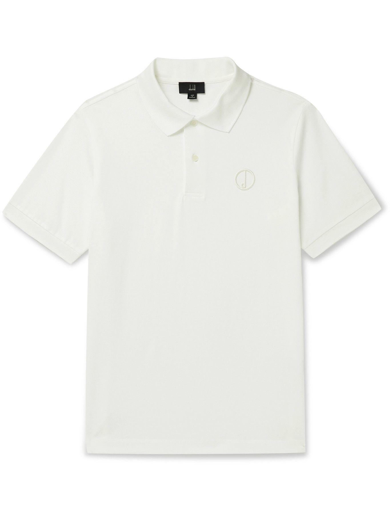 Photo: DUNHILL - Logo-Embroidered Cotton-Piqué Polo Shirt - White