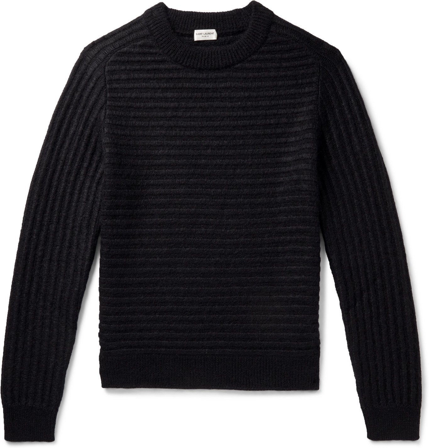 Photo: SAINT LAURENT - Slim-Fit Ribbed Wool-Blend Sweater - Black