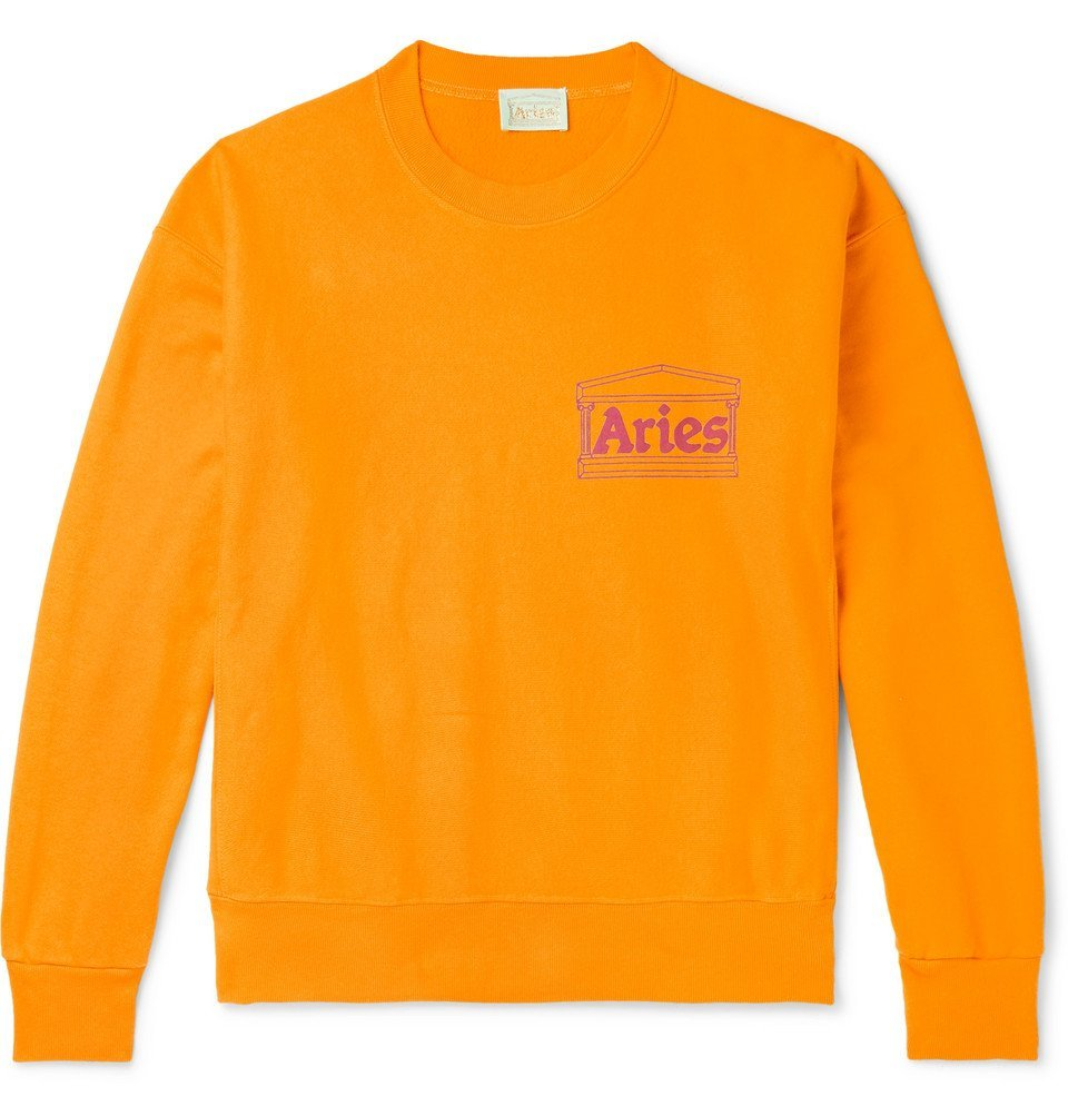 Photo: Aries - Logo-Print Fleece-Back Cotton-Jersey Sweatshirt - Orange