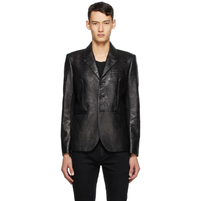 Photo: Saint Laurent Black Leather Blazer