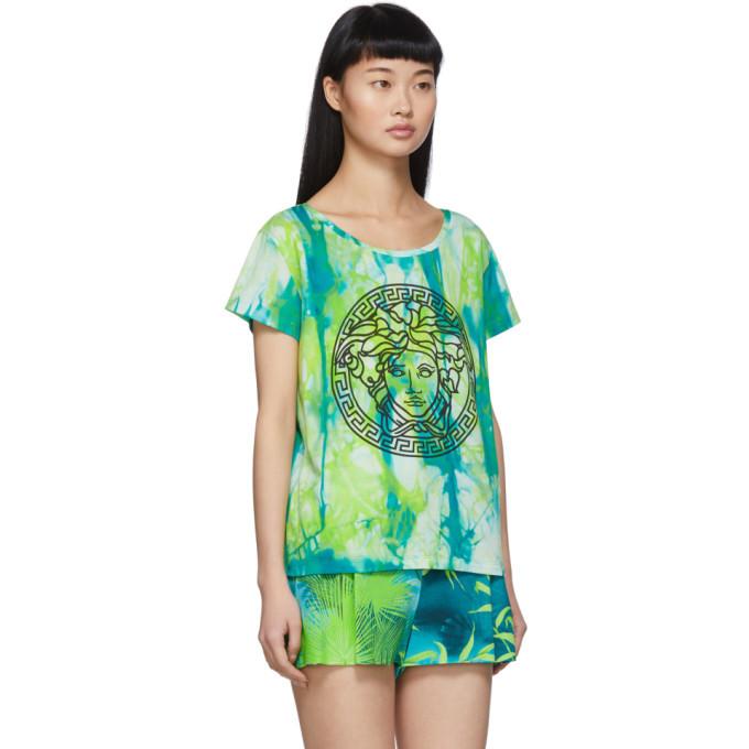 Versace Green Watercolor Medusa T-Shirt