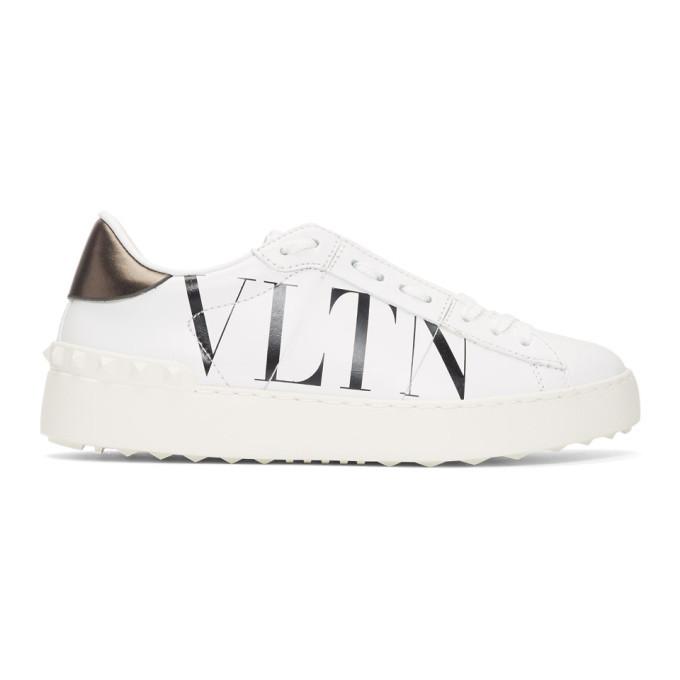 50cf2e087b17 Valentino White and Black Valentino Garavani VLTN Open Sneakers ...