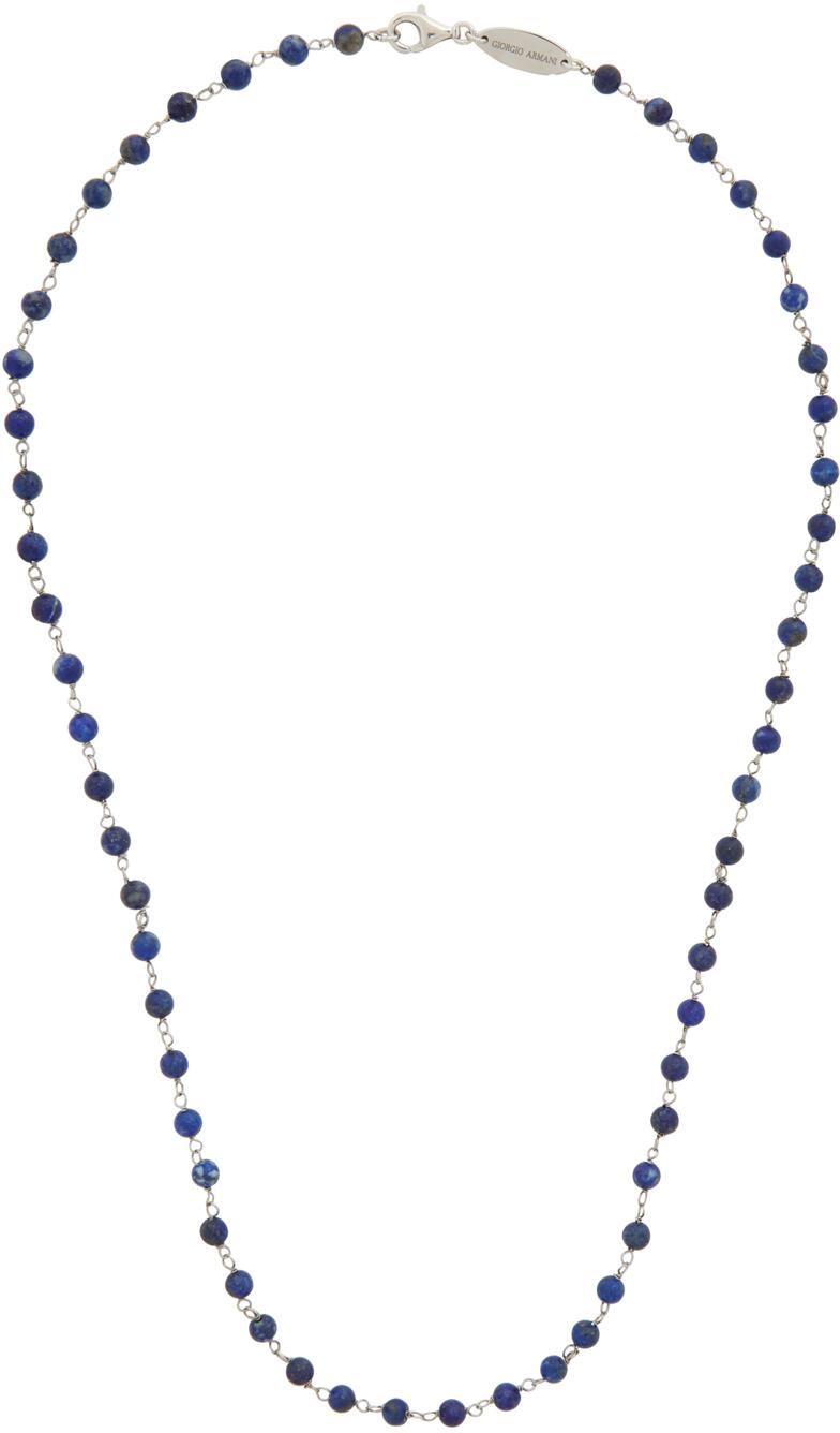 Photo: Giorgio Armani Blue & Silver Bead Necklace
