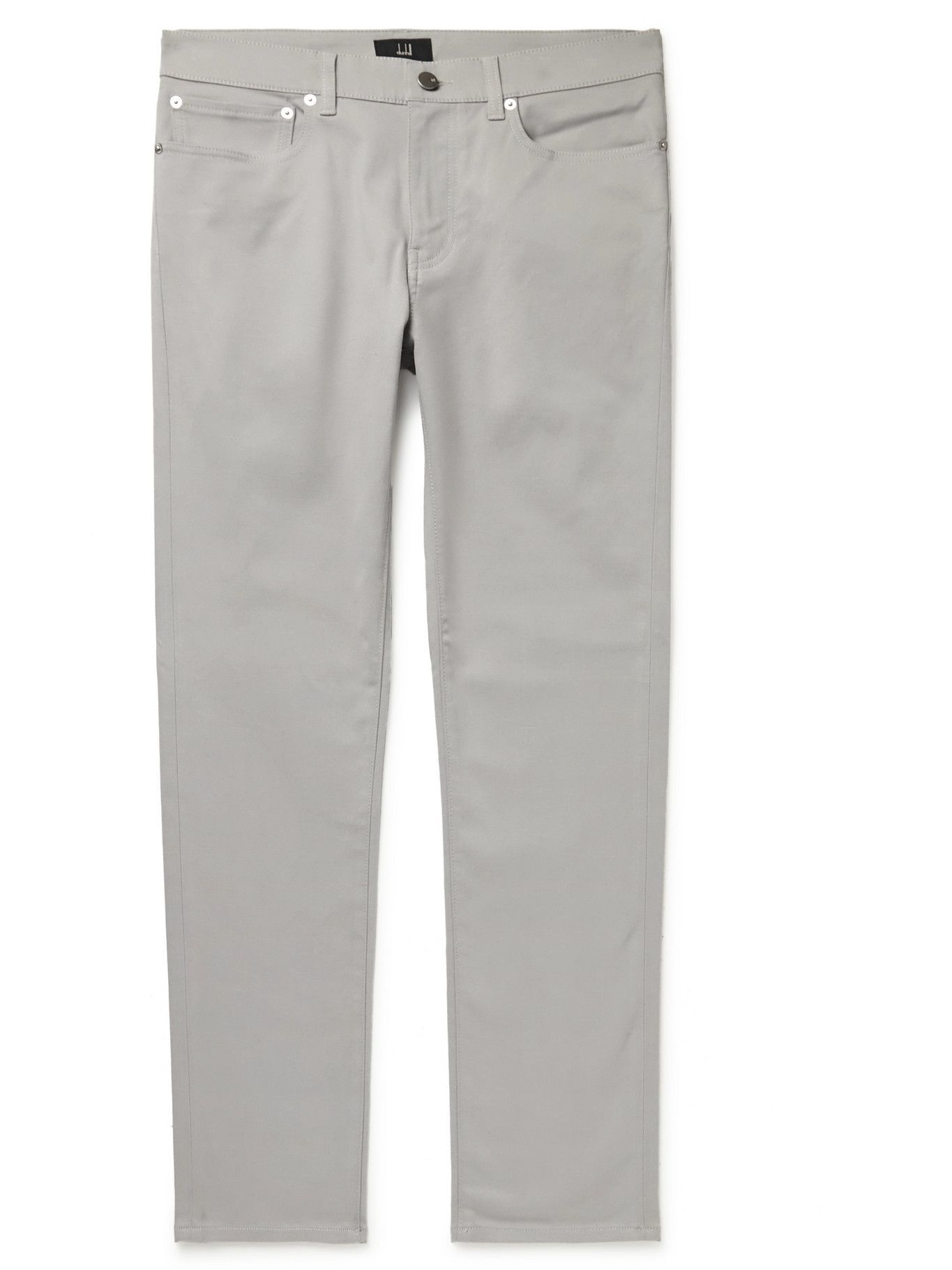 Photo: Dunhill - Slim-Fit Cotton-Blend Twill Trousers - Neutrals