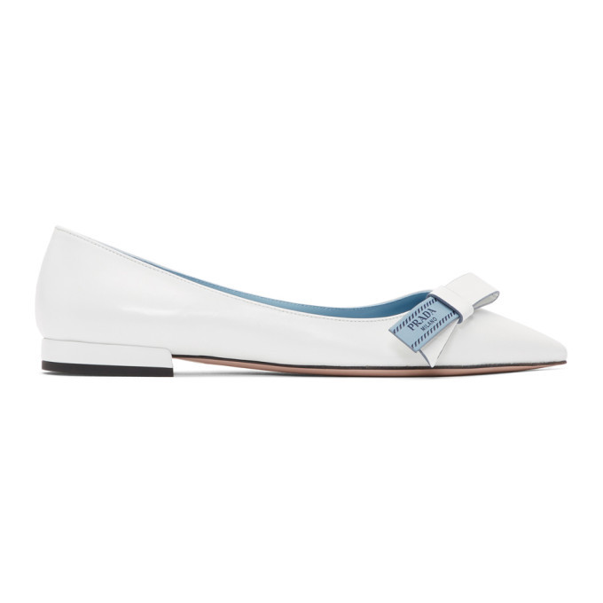 Prada White Logo Bow Ballerina Flats Prada