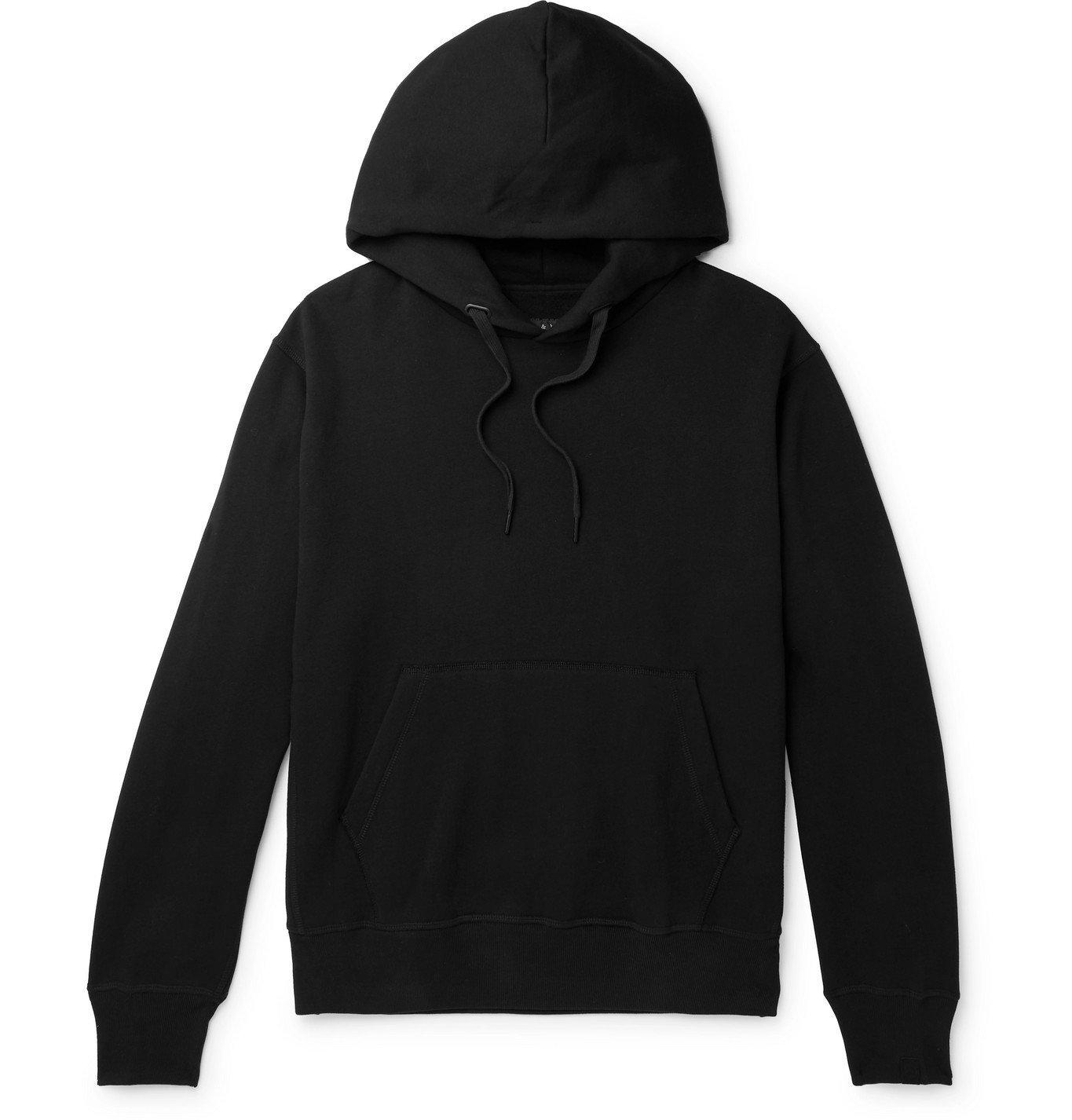 Photo: rag & bone - Damon Fleece-Back Cotton-Blend Jersey Hoodie - Black
