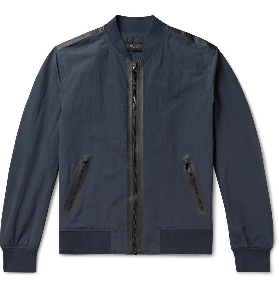 Photo: rag & bone - Nylon and Cotton-Blend Bomber Jacket - Navy