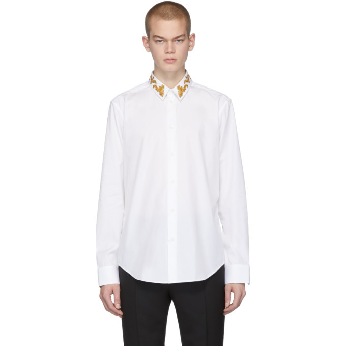 Photo: Versace White Barocco Collar Shirt