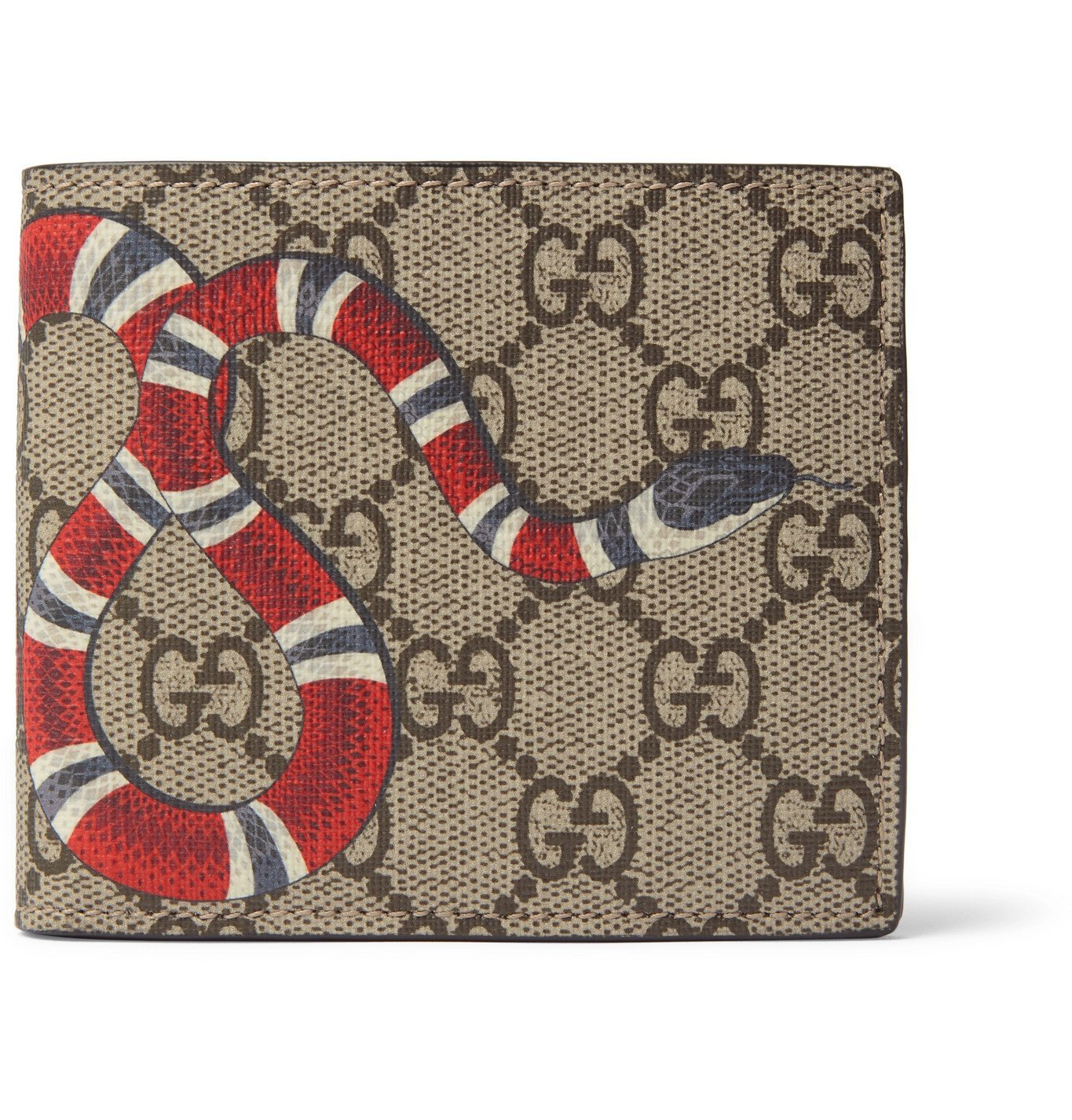 Photo: Gucci - Printed Monogrammed Coated-Canvas and Leather Billfold Wallet - Brown