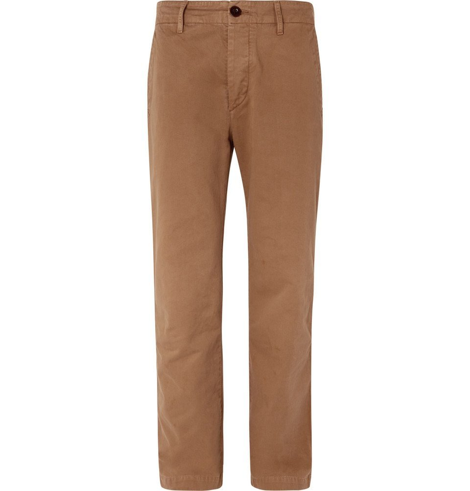 Photo: Mr P. - Wide-Leg Garment-Dyed Cotton-Twill Chinos - Brown