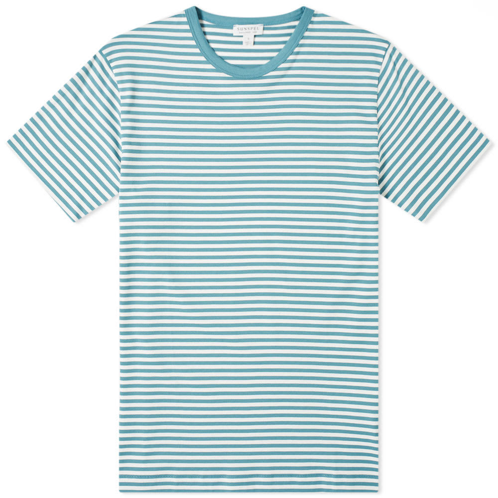 Photo: Sunspel English Stripe Tee Aqua & White