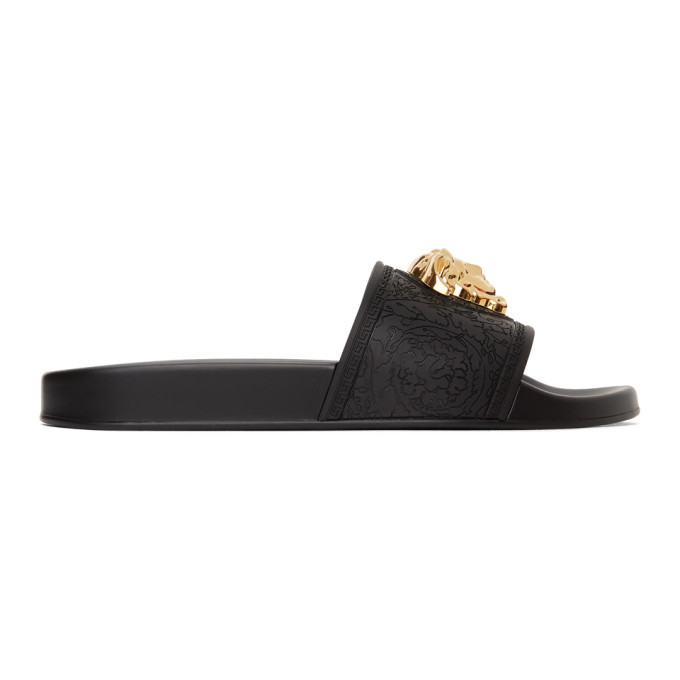 Photo: Versace Black Baroque Medusa Pool Slides