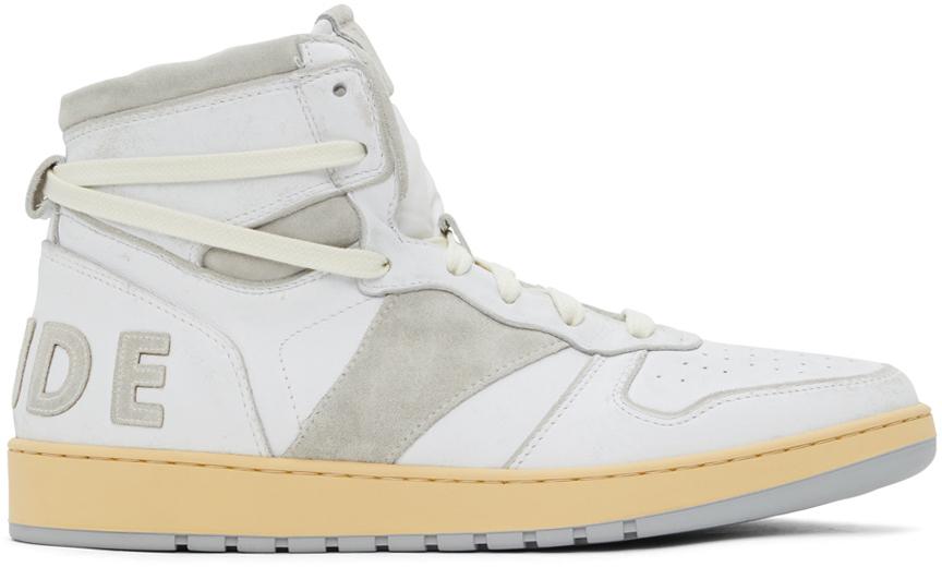 Photo: Rhude White & Grey Rhecess Hi Sneakers