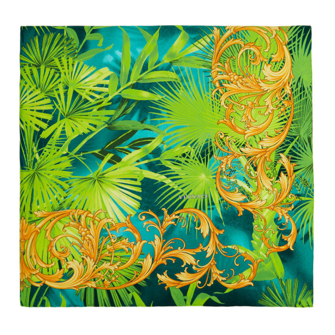 Photo: Versace Green Silk and Baroque Print Scarf