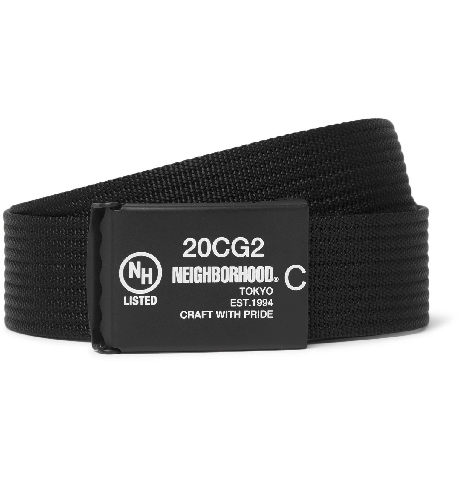 Photo: Neighborhood - 3cm Logo-Print Webbing Belt - Black