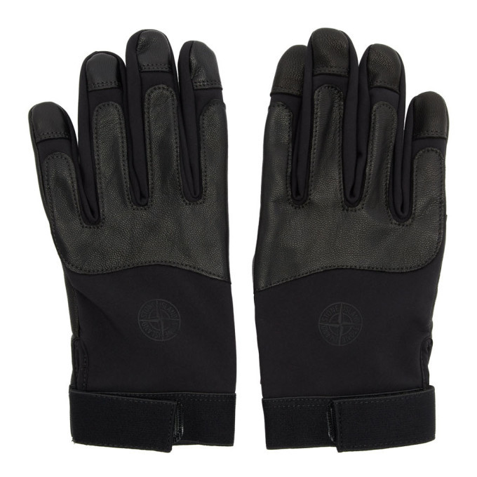 Photo: Stone Island Black Logo Gloves